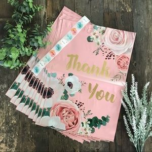 """PINK floral poly mailers - (10) - 10"""" x 13"""""""